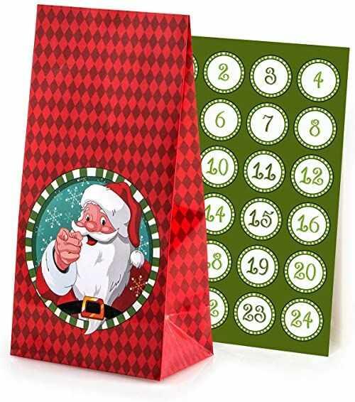 Pajoma kalendarz adwentowy do napełniania, 24 powlekane torebki papierowe na prezenty na Boże Narodzenie, kalendarz bożonarodzeniowy, zestaw do majsterkowania z naklejkami z liczbami adwentowymi