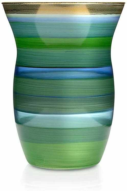 Angela Neue Wiener Werkstätte Wazon MONIKA Laguna szklany wazon pomalowany, pozłacany, szkło, zielony, średni rozmiar
