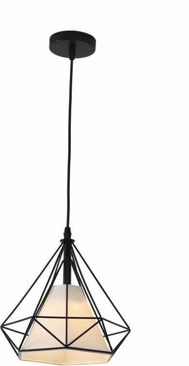 Light Prestige Nola LP-076/1P BK lampa wisząca czarna klosz druciany geometryczny abażur tkanina biały regulacja wysokości 1x60W E27 25cm