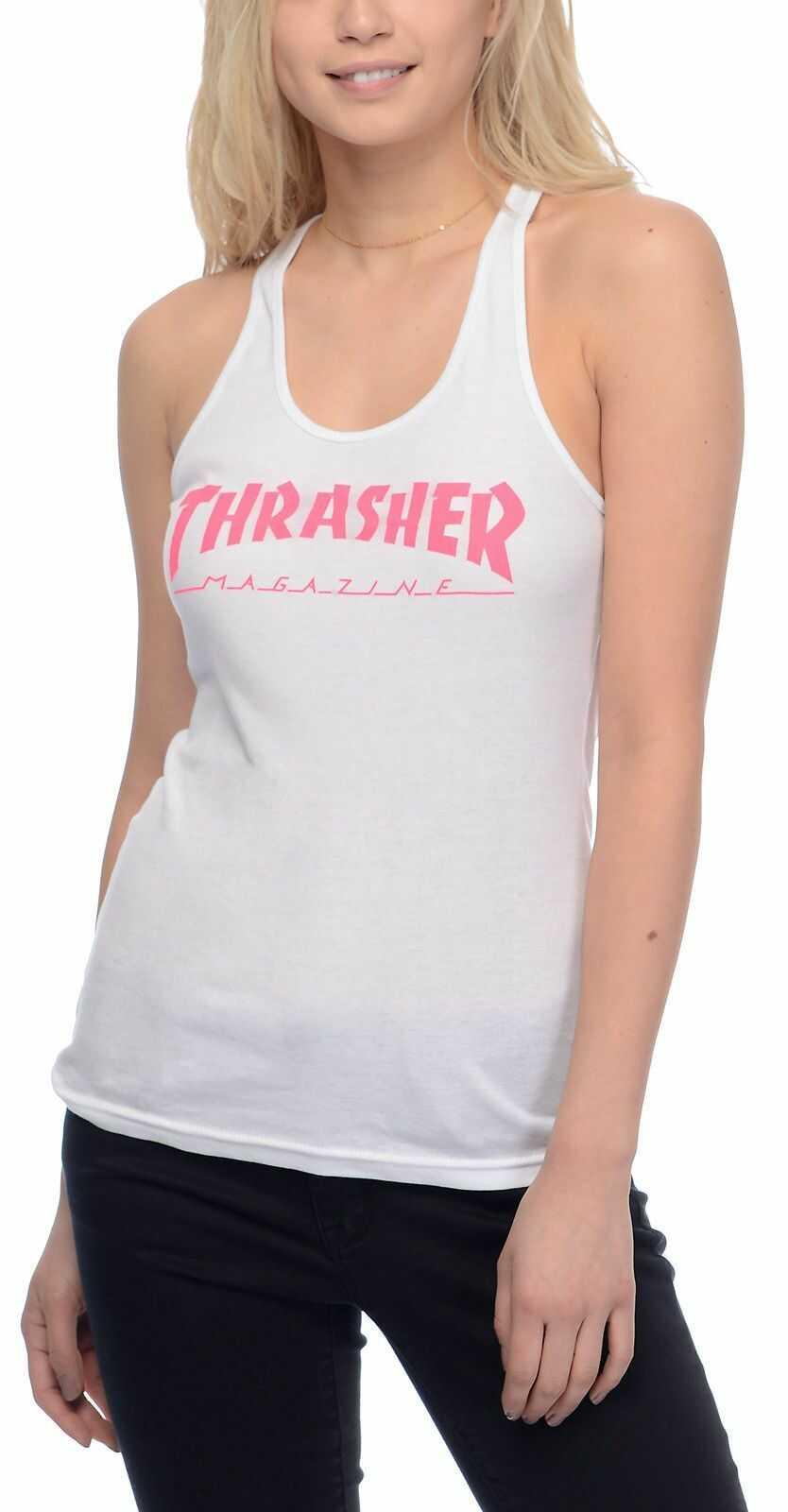 top damski THRASHER GIRLS MAGAZINE LOGO RACERBACK TANK WHITE PINK