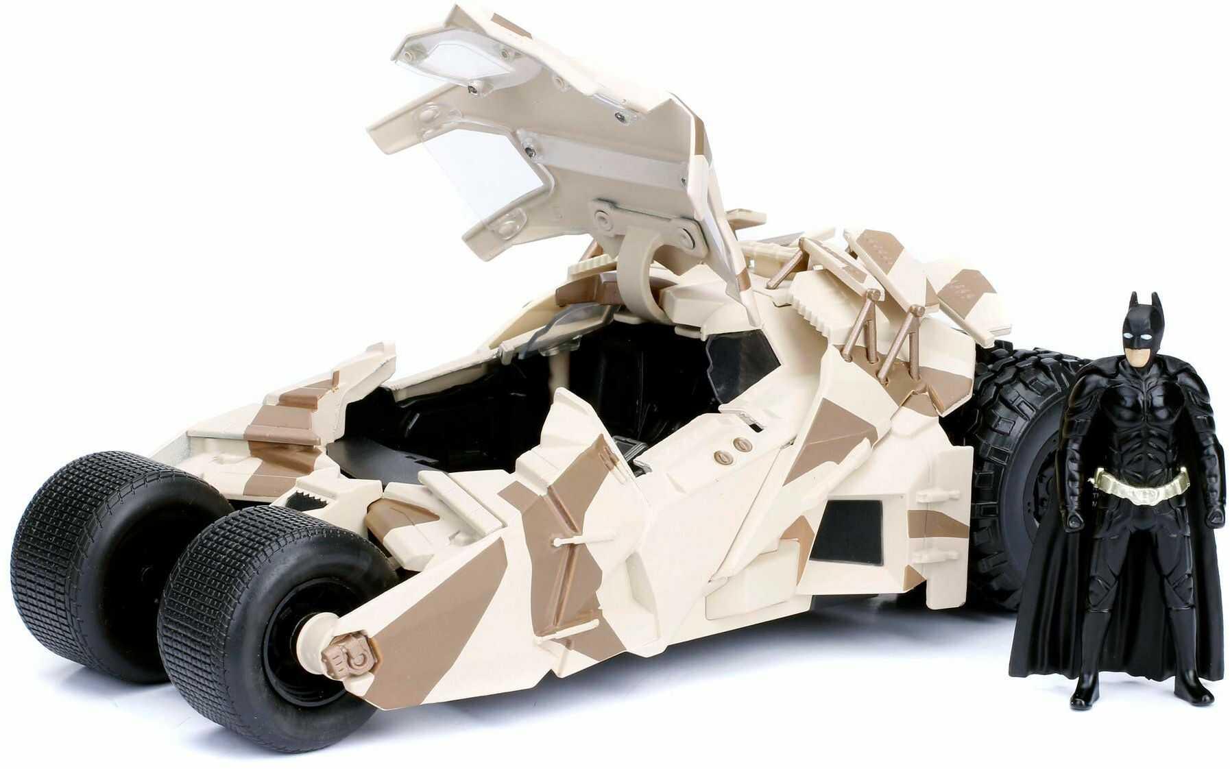 Jada Toys 253215006 Tumbler Batmobil Camo, zabawkowy samochód, model samochodu, Die-cast, drzwi do otwierania, wraz z figurką Batmana, skala 1:24, kolory maskujące, czarny
