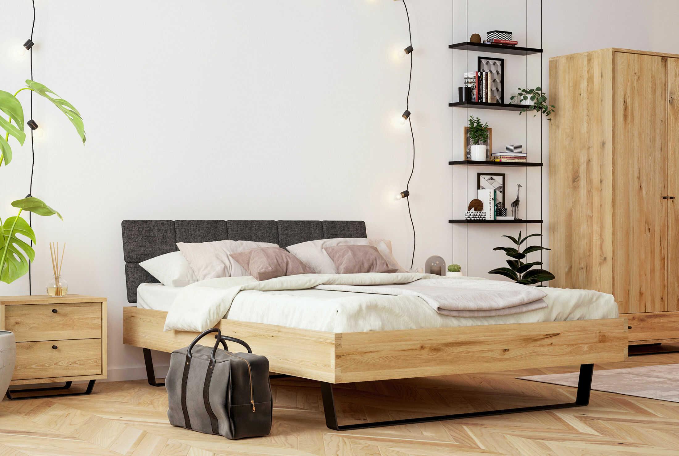 Łóżko dębowe Steel 01 na metalowych nogach