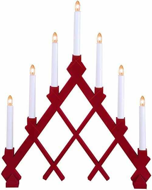 Star Drewniany 7-lekki świecznik LED z rdzą, czerwony