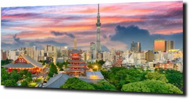 obraz na szkle, panel szklany Zielone Tokio