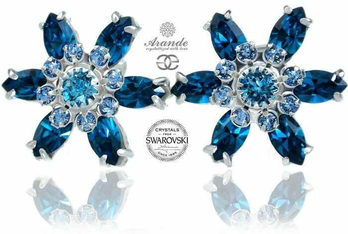 Swarovski Przepiękne Kolczyki Blue Azure Certyfikat