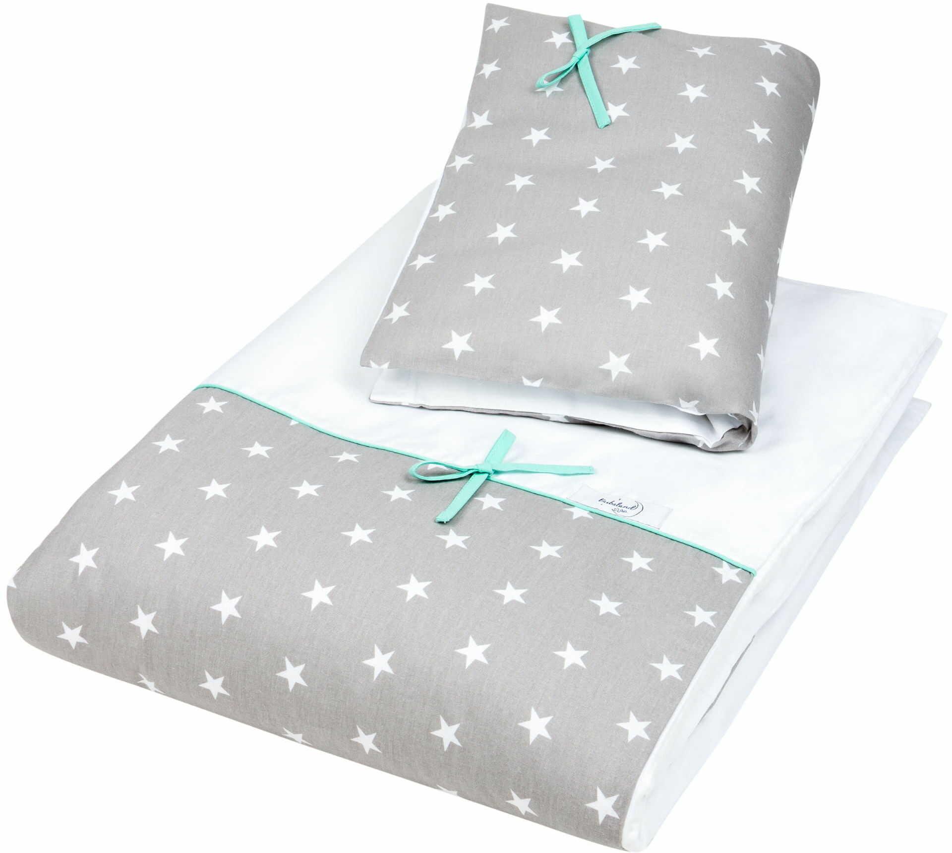 Pościel do łóżeczka, bawełna, satyna 2 el. szare gwiazdy