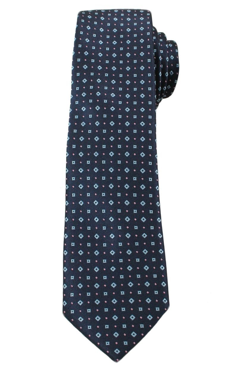 Elegancki Krawat Męski w Drobny Wzór - 6 cm - Angelo di Monti- Stonowany, Granatowy KRADM1343