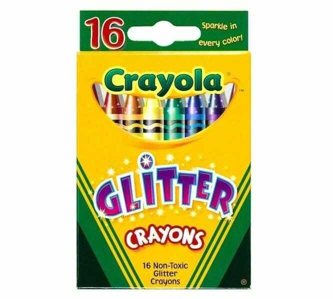 Kredki świecowe brokatowe 16 kolorów CRAYOLA