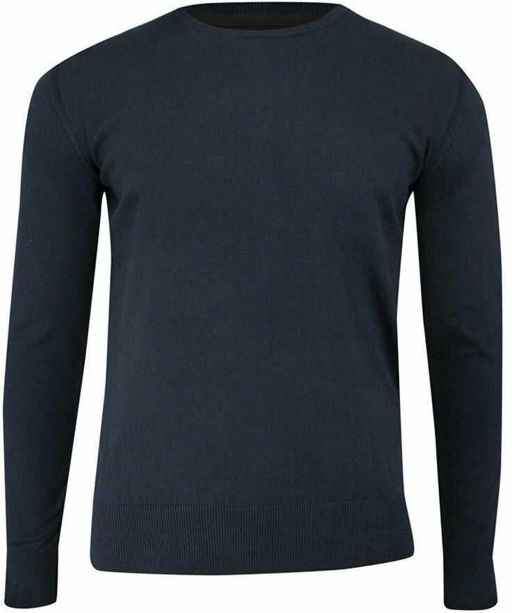 Sweter Granatowy z Okrągłym Dekoltem (U-neck), Klasyczny -JUST YUPPI- Męski SWJTYUPSW10201kol3granat