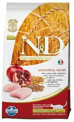 Farmina N&D Ancestral Grain Chicken&Pomegranate Adult Neutered Cat - prazboża i kurczak dla dorosłych, sterylizowanych kotów
