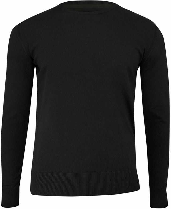 Sweter Czarny z Okrągłym Dekoltem (U-neck), Klasyczny -JUST YUPPI- Męski SWJTYUPSW10201kol2czarny
