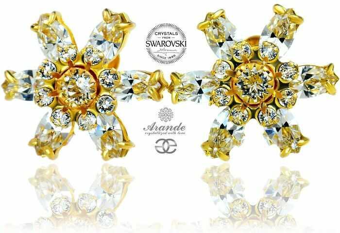Swarovski Przepiękne Kolczyki Crystal Azure Gold