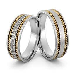 Obrączki srebrne z złotymi warkoczami i cyrkoniami - wzór Ag-398