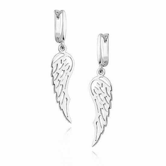 Eleganckie rodowane wiszące srebrne kolczyki celebrytka skrzydła skrzydełka wings srebro 925 KS0157D