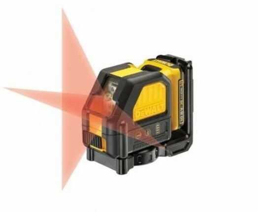 akumulatorowy, samopoziomujący laser krzyżowy z wiązką czerwoną do 15m, 10,8V Li-Ion 2,0Ah DeWALT [DCE088D1R-QW]