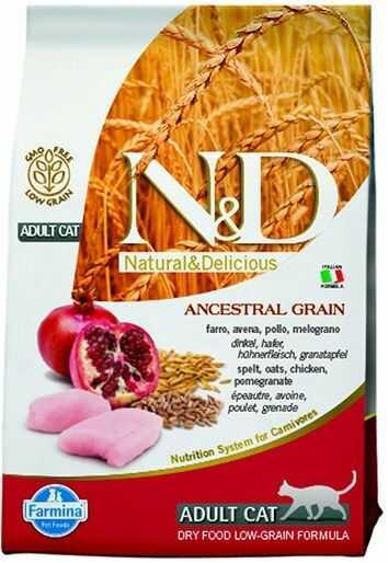 Farmina N&D Ancestral Grain Chicken&Pomegranate Adult Cat - karma z prazbożami i kurczakiem dla dorosłych kotów