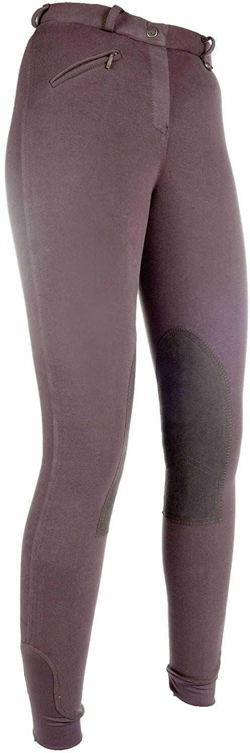 HKM 9064 Bryczesy Penny Easy, spodnie dziewczęce, obszycie kolan, ciemnobrązowe/ciemnobrązowe, 122