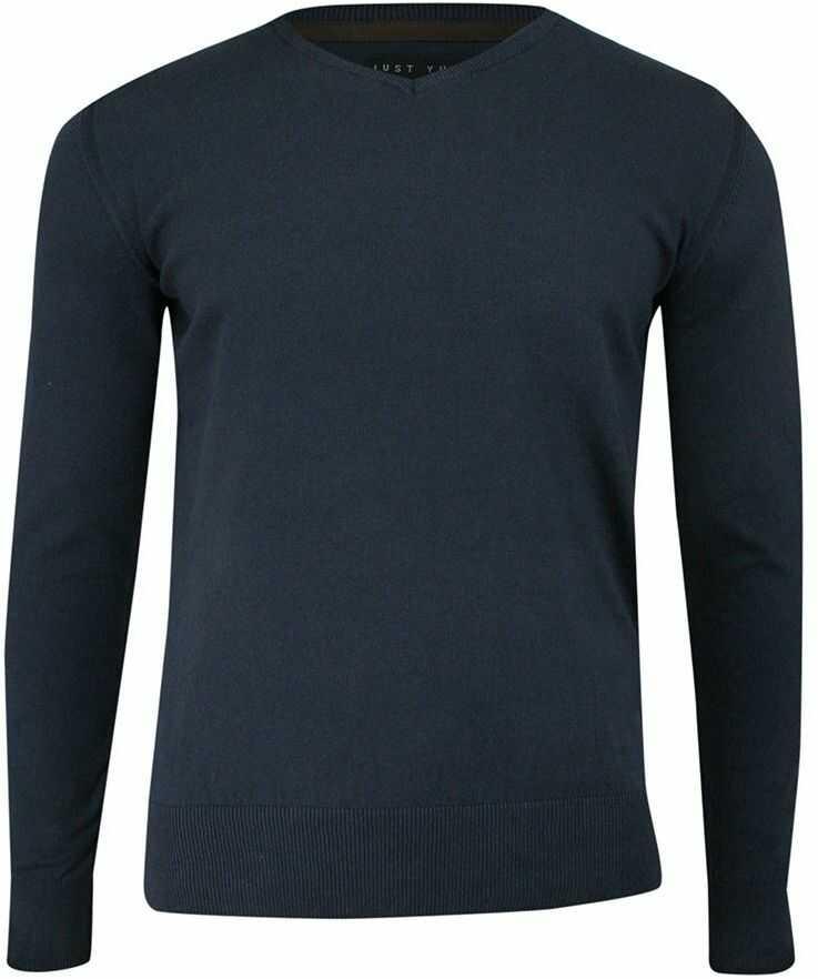 Sweter w Serek Granatowy (V-neck), Klasyczny -JUST YUPPI- Męski, Elegancki SWJTYUPSW10200kol3granat