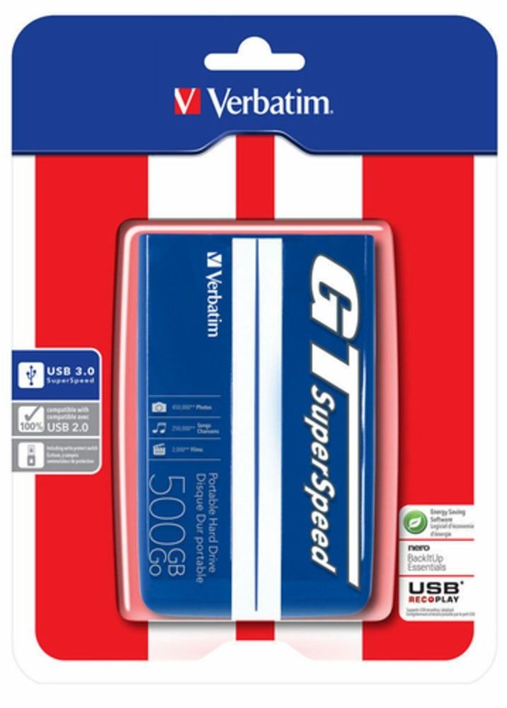 Dysk zewnętrzny VERBATIM GT SUPERSPEED USB 3.0 2,5'' 500GB - kolor niebieski