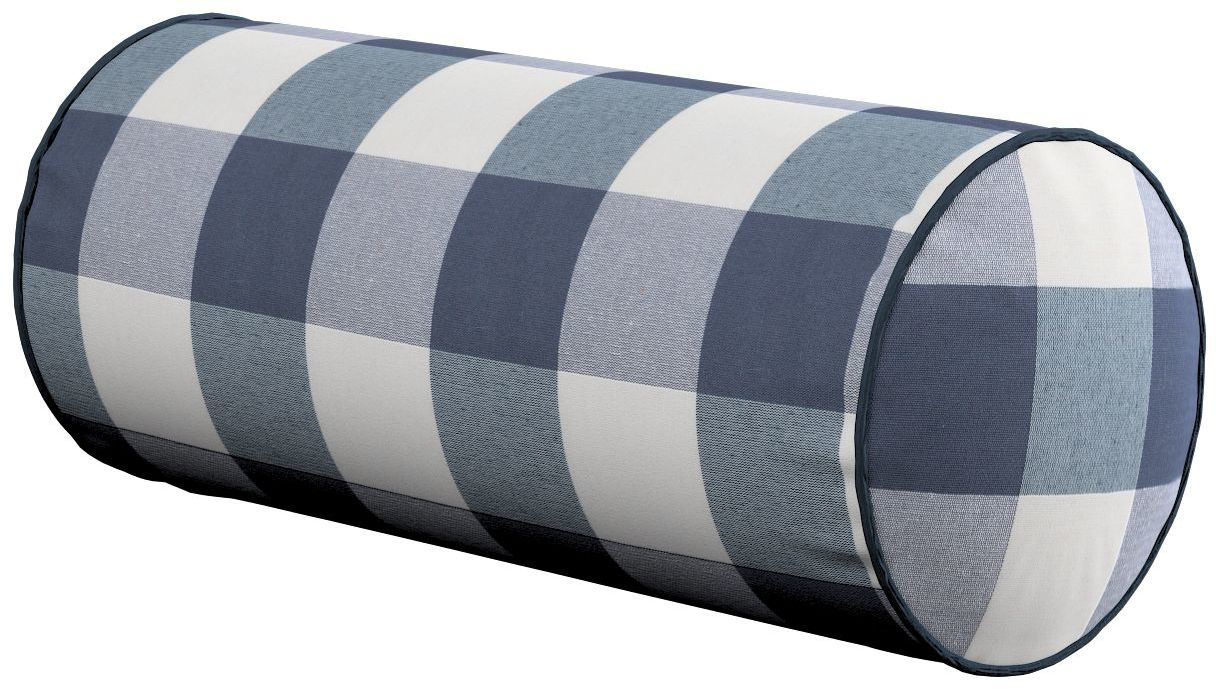 Poduszka wałek prosty, granatowo biała krata (5,5x5,5cm), Ø16  40 cm, Quadro