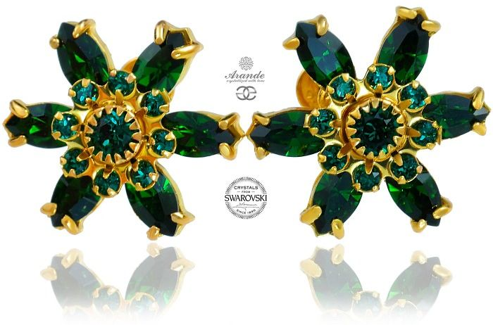 Swarovski Przepiękne Kolczyki Emerald Azure Gold