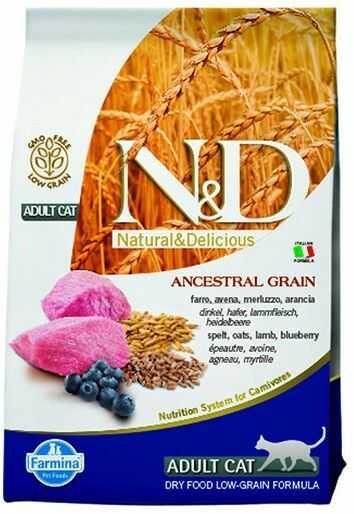 Farmina N&D Ancestral Grain Lamb & Blueberry Adult Cat - karma z prazbożami i jagnięciną dla dorosłych kotów