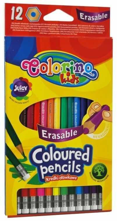 Kredki ołówkowe wymazywalne 12 kolorów Colorino 892531
