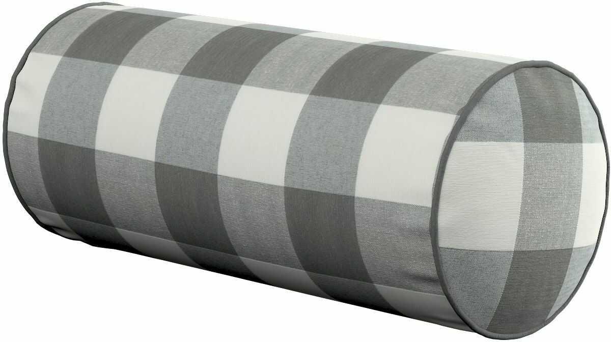 Poduszka wałek prosty, szaro biała krata (5,5x5,5cm), Ø16  40 cm, Quadro