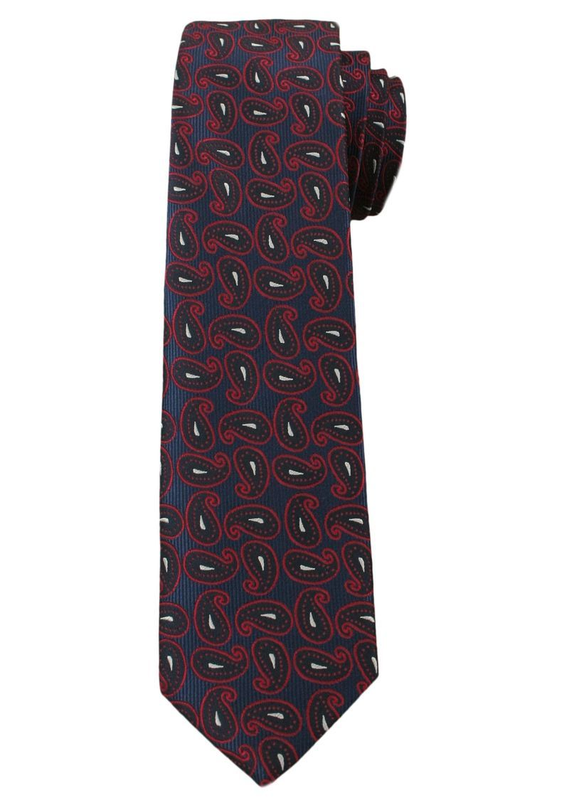 Modny Męski Krawat, Wzór PAISLEY - 6 cm - Angelo di Monti- Granatowo-Bordowy KRADM1341