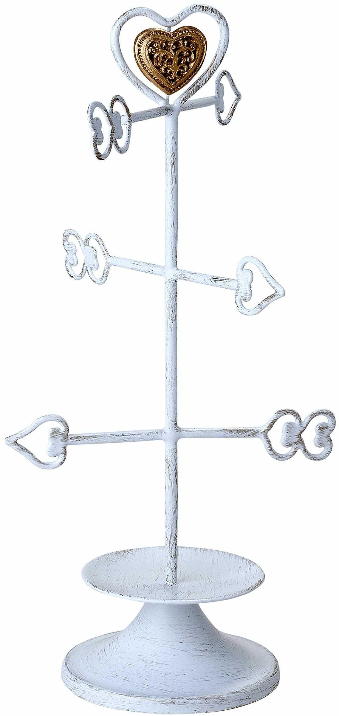 mopec szkatułka na biżuterię, strzałki w kształcie serca, z pudełkiem, metalowa, biała, 10 x 15,5 x 31 cm