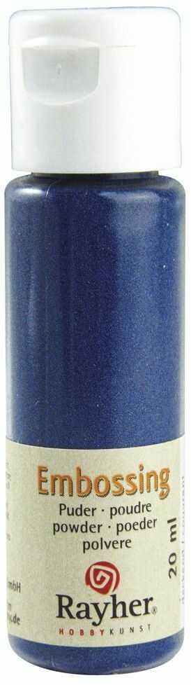 RAYHER 28000376, puder do embossingu, butelka 20 ml, kryjący, niebieski królewski