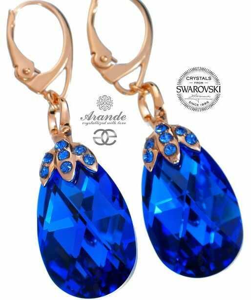 SWAROVSKI SPECIAL kolczyki BLUE COMET ROSE GOLD