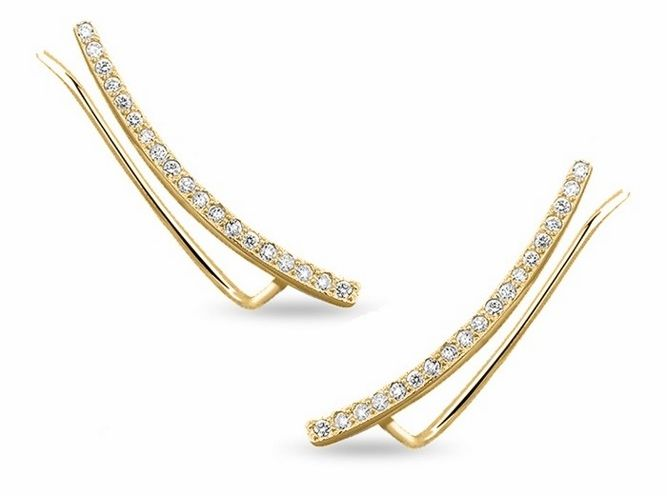 Eleganckie pozłacane srebrne kolczyki nausznice z cyrkoniami srebro 925 Z1482E_G