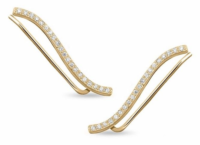 Eleganckie pozłacane srebrne kolczyki nausznice z cyrkoniami srebro 925 Z1483E_G