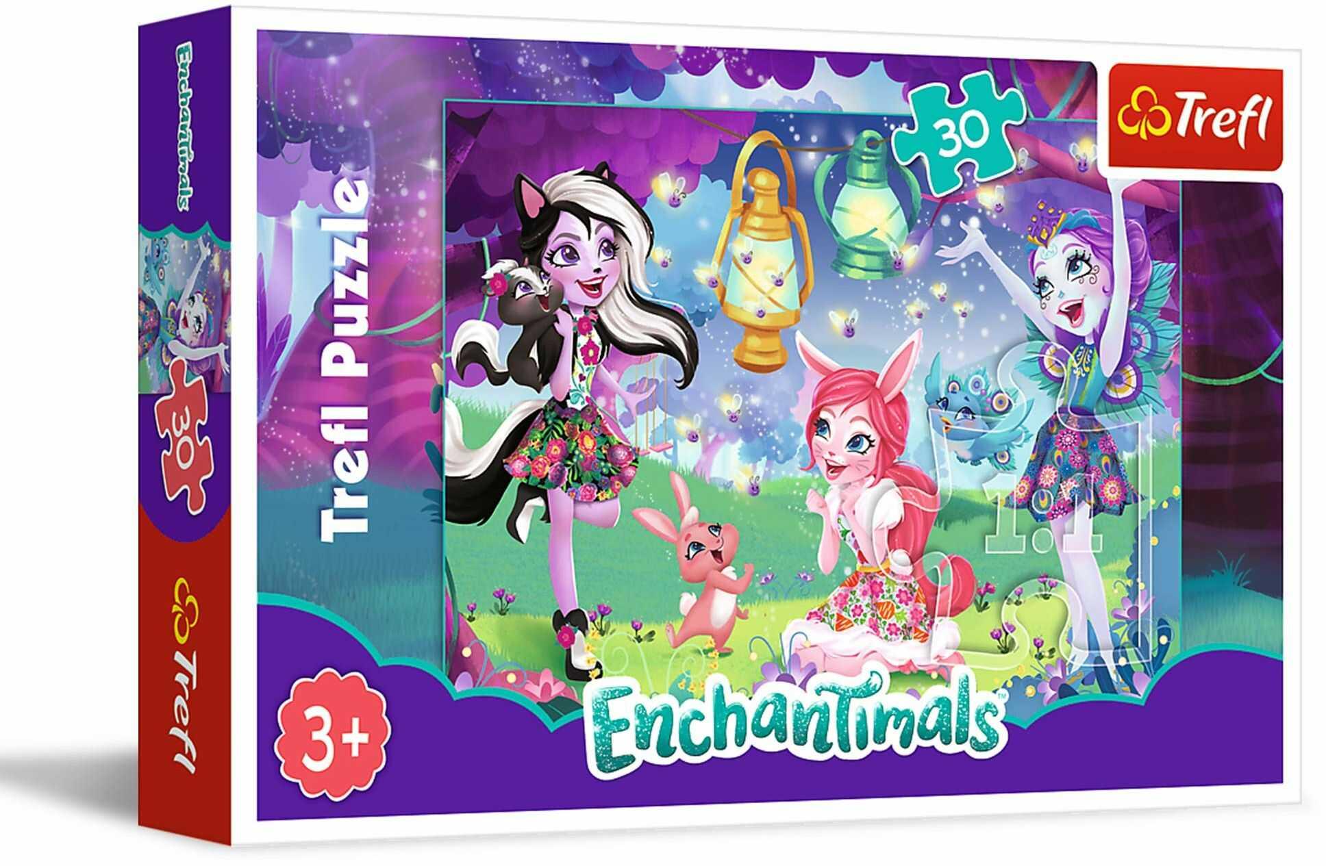 Trefl Magiczny świat Enchantimals Puzzle 30 Elementów o Wysokiej Jakości Nadruku dla Dzieci od 3 lat