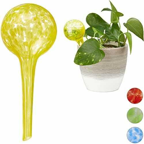 Relaxdays Kula do nawadniania zestaw 2 sztuk, dozowane nawadnianie roślin i kwiatów, pomoc w podlewaniu w biurze, na urlopie, Ø 6 cm, szkło, żółte, 2 sztuki