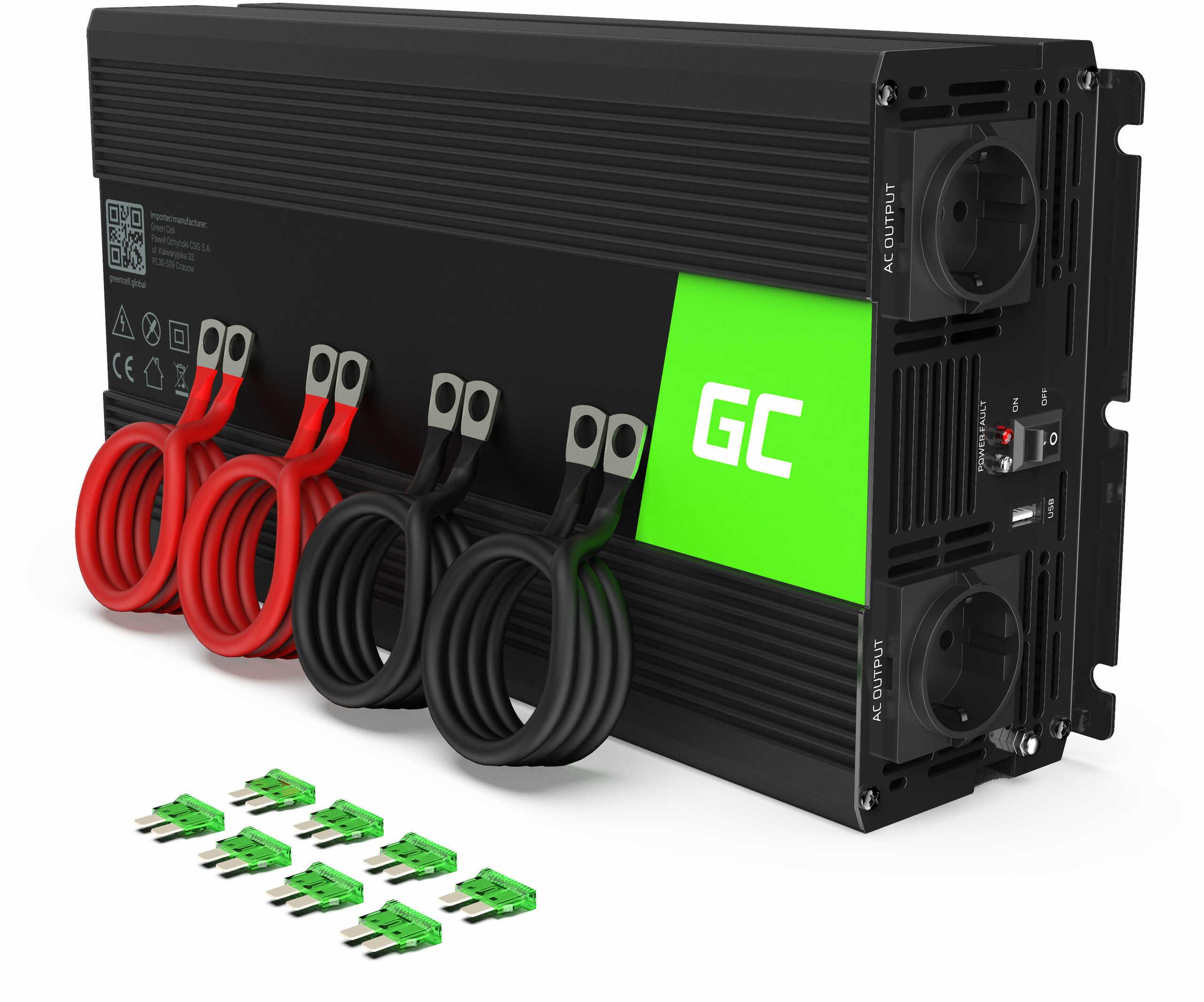 Przetwornica napięcia Inwerter Green Cell  12V na 230V 3000W/6000W Modyfikowana sinusoida