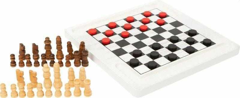 Drewniane szachy i warcaby 2w1 White 11395-Small Foot, gry dla dzieci