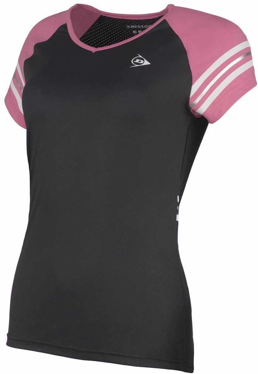 Dunlop Damska koszulka 72226-XS Performance Line Crew T-shirt, czarny/różowy, XS
