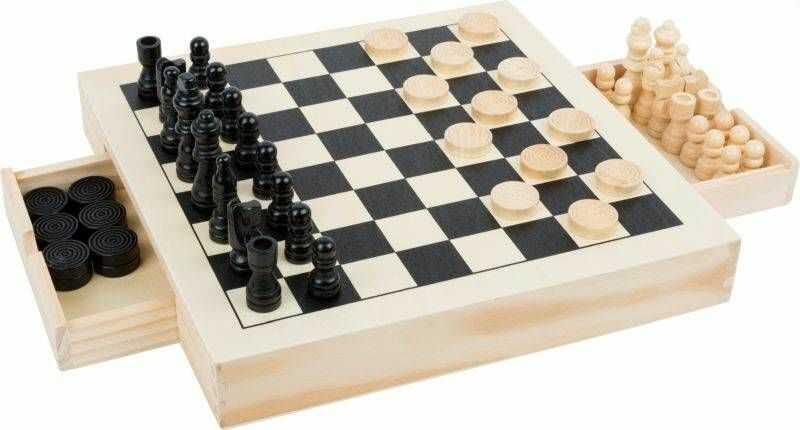 Zestaw trzech gier szachy warcaby młynek 11208-Small Foot, gry drewniane