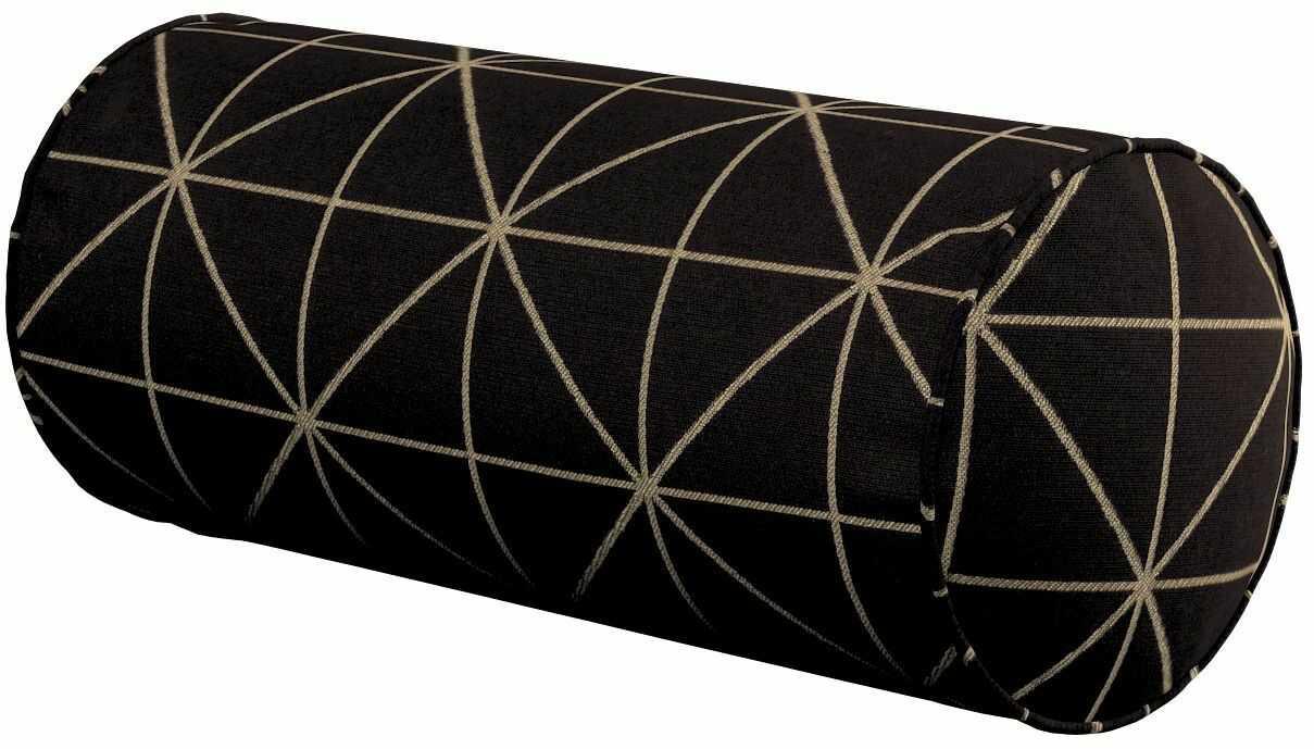 Poduszka wałek prosty, czarno-beżowy ze złotą nitką, Ø16  40 cm, Black & White