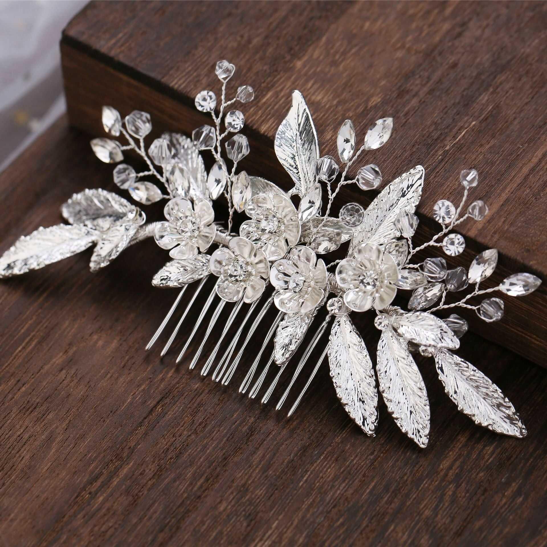 Ozdoba do włosów srebrna ślubna grzebyk cyrkonie