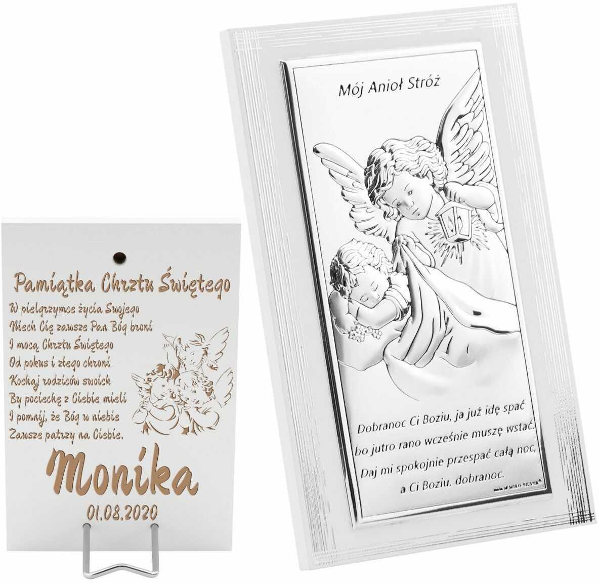 Srebrny Obrazek Anioł Stróż z latarenką 16x10 cm Pamiątka na chrzest z Grawerem