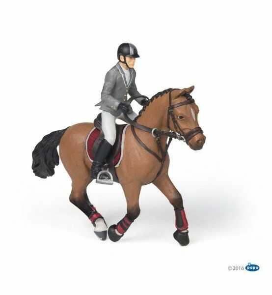 Figurka galopujący koń z jeźdzcem - PAPO