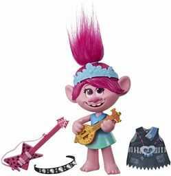 DreamWorks Trolls World Tour Pop -to-Rock lalka śpiewająca z 2 różnymi dźwiękami i dźwiękami, zabawka śpiewa trolle Just Want to Have Fun