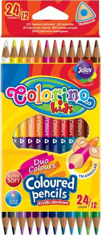 Kredki ołówkowe trójkątne dwukolorowe 12 szt /24 kolory Colorino 833046