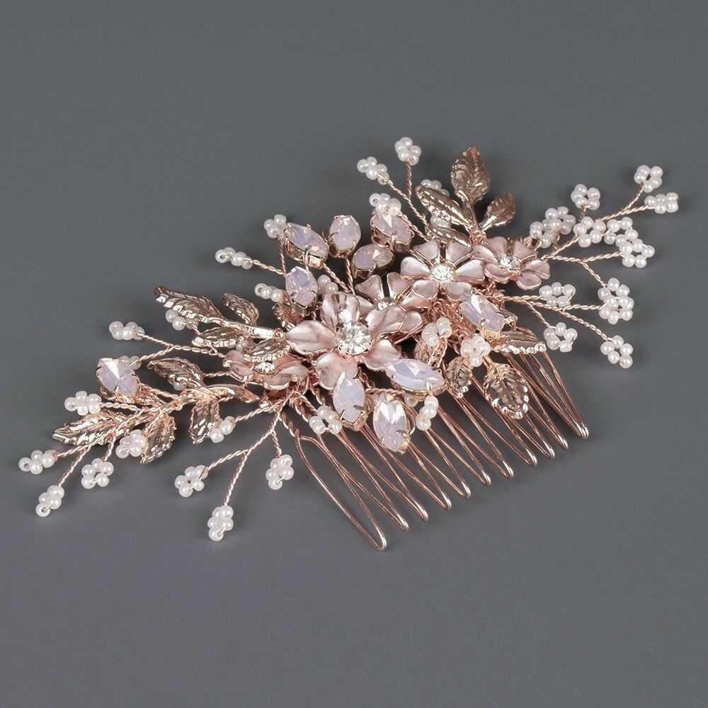 Ozdoba do włosów rose gold ślubna grzebyk ślub