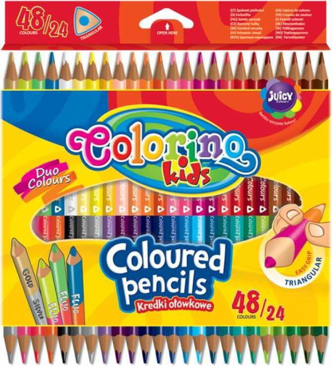 Kredki ołówkowe trójkątne dwukolorowe 24 szt /48 kolorów Colorino 851705