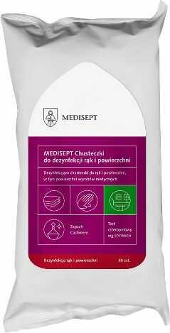 Chusteczki do dezynfekcji rąk i powierzchni użytkowych na bazie alkoholu z dodatkiem gliceryny - duża skuteczność i wygodne opakowanie (Medisept Wipes