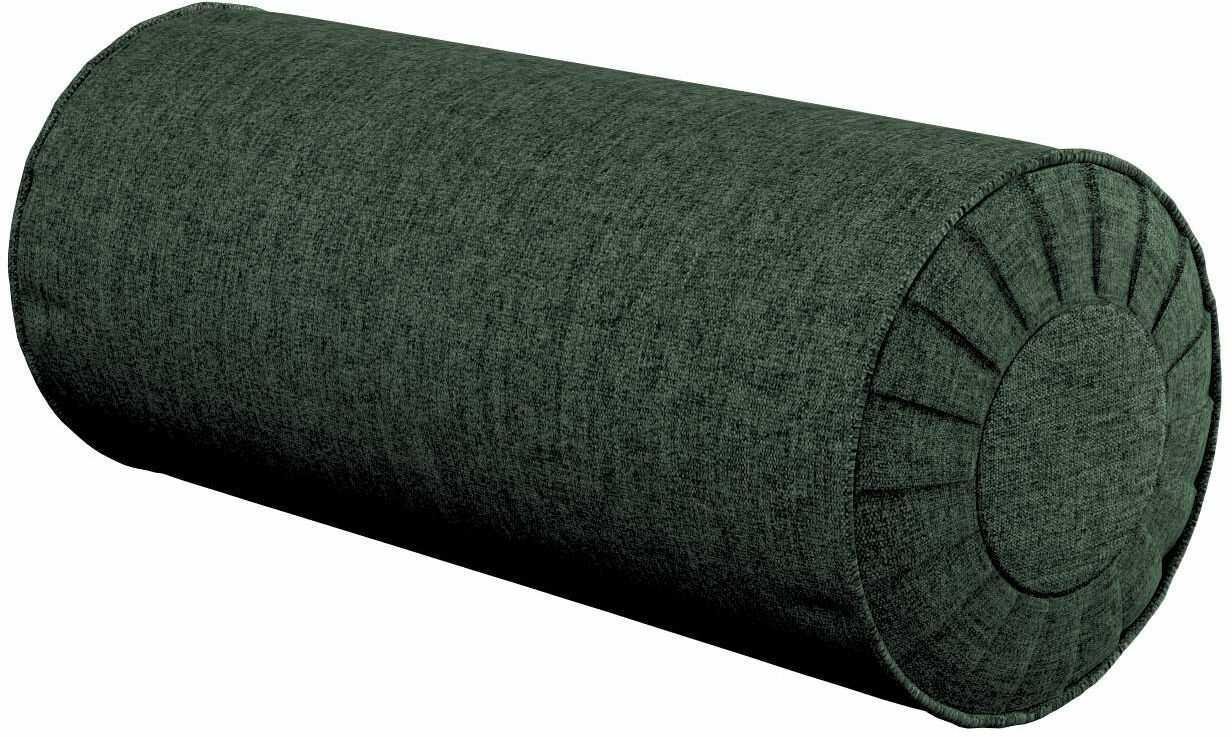 Poduszka wałek z zakładkami, leśna zieleń szenil, Ø20  50 cm, City